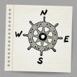 Doodle steering control-compass sketch concept — Stock Vector