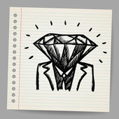 Doodle businessman-diamond sketch concept — Vecteur