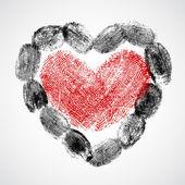 Vector heart, man and woman fingerprint — Stock Vector