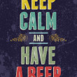 Stock Vector: Keep calm and have beer typography illustration.