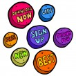 Set of hand drawn buttons. Vector. — Stock Vector