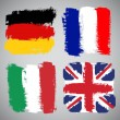 Grunge European flags, vector set — Stock Vector