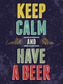 Keep calm and have a beer typography illustration. — Stok Vektör