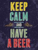Sakin olun ve bir bira tipografi resimde var. — Stok Vektör