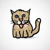 каракули кошка с грандж текстуры — Cтоковый вектор