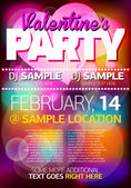 Valentines Party Flyer/Poster — Vector de stock