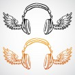 Vector concept illustration. Headphones with wings — Stock Vector