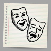 Scribble theater masks — Stock Vector