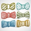 Doodle style bow tie men's clothing assortment - Stock Vector