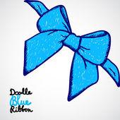 Blue bow. Doodle vector — 图库矢量图片