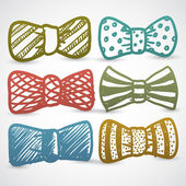 Doodle style bow tie men's clothing assortment — Stock Vector