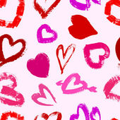 Grunge valentine's seamless pattern with hearts — 图库矢量图片