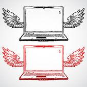 Laptop z skrzydłami zbiory koncepcja — Wektor stockowy