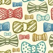 Seamless texture with vintage bows — Stock Vector