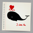 Cute doodle in love whale with hearts. Vector illustration — Stock Vector