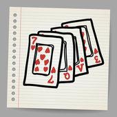 Doodle jouer aux cartes avec le mot amour — Vecteur