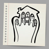 Doodle vector Fingers Family illustration in the house — Stock Vector