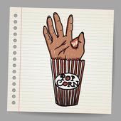 Illustration Of A Creepy Sawn Off Hand. Horror Movie Conceptual — Vector de stock