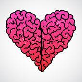 Vecteur doodle cerveau coeur — Vecteur