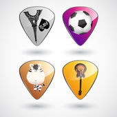 Guitar picks or plectrums with custom designs — Stock Vector