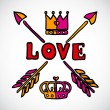 Doodle love sign with arrows and crowns - Stock Vector