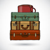 Suitcases in doodle style — Stock Vector