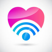 Wi-fi symbol with heart — Stock Vector