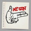 Cartoon gun two fingers sign — Image vectorielle