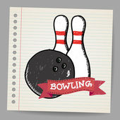 Sketch bowling — Vector de stock