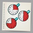 Red vector doodle timers — Stock Vector