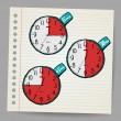 vettore rosso doodle temporizzatori — Vettoriale Stock