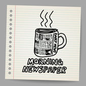 Doodle style newspaper coffee cup illustration — Stock Vector