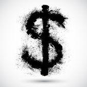 Vector illustration of an American Dollar splatter design element. — Stock Vector