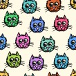 Stock Vector: Seamless pattern of cats