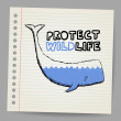 Doodle protect wildlife sign with whale. — Stock Vector