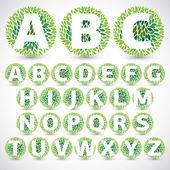 Carattere di foglie verdi. illustrazione vettoriale. — Vettoriale Stock