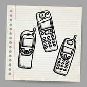 Old mobile phone set. — Stock Vector