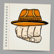 Doodle fist with hat — Stock Vector #23101296