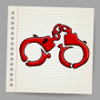 Doodle handcuffs. vector illustration — Stock Vector