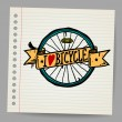 Doodles I Love Bicycle Sign — Stock Vector