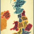Vector of United Kingdom typography accents map — Imagen vectorial
