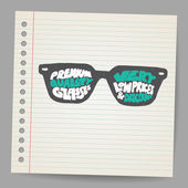 Doodle Glasses with premium quality sign — Vector de stock