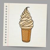 Ice cream cone doodle — Stock Vector