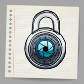 Lock in doodle style — Stock Vector