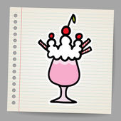 Milkshake with cherry. Vector illustration. — Stock Vector
