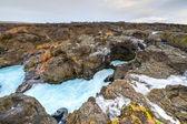 Piscine rivière glaciaire, barnafoss, islande — Photo