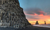 Reynisdrangar on Reynisfjara Beach — Stock Photo