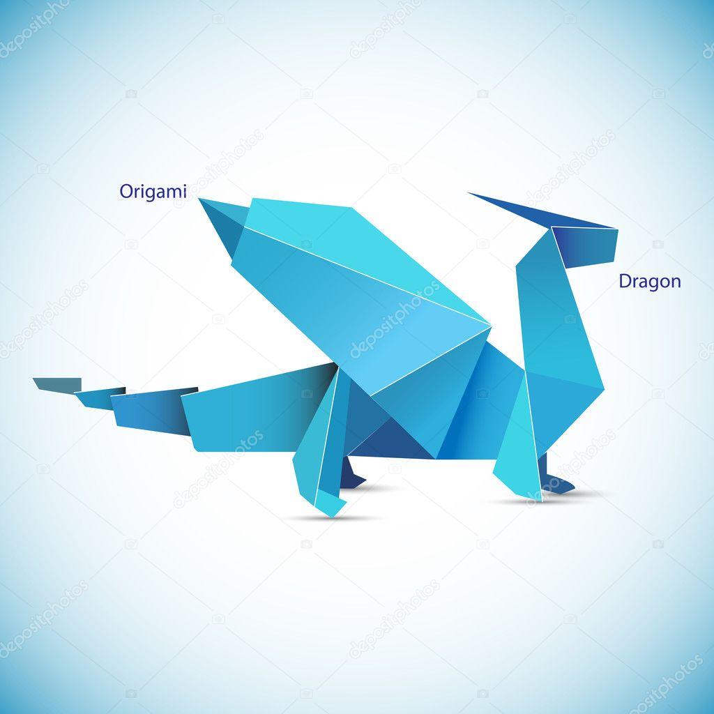 Illustration of a blue origami dragon figure — Stock ... - photo#26