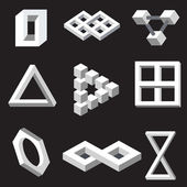 Optical illusion symbols. Vector illustration. — Stok Vektör