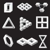 Złudzenie optyczne symboli. ilustracja wektorowa. — Wektor stockowy